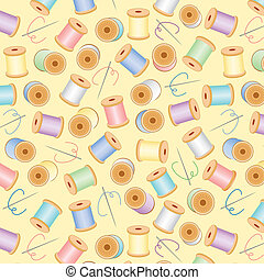 Seamless Background, Pastel Yellow - Needles and spools of...