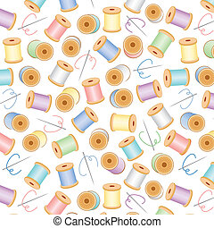 Needles and spools of thread seamless background in pastel colors for sewing, quilts, needlework, arts, crafts, scrapbooks, albums. EPS includes pattern swatch that seamlessly fills any shape.