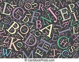 Seamless background pattern mosaic of multicolored letters on dark blackboard background. Simple flat vector illustration