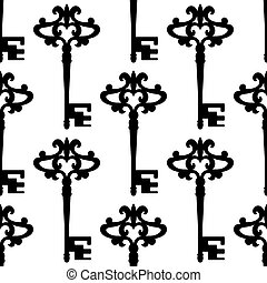 Seamless background pattern of a vintage keys