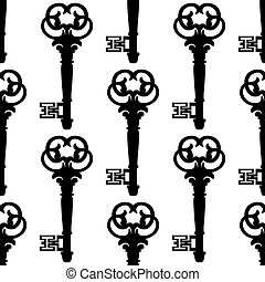 Seamless background pattern of antique keys