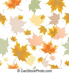 Seamless background pattern of autumn leaves. Falling ,...