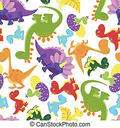 Seamless background pattern of baby dinosaurs - Seamless...