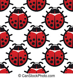 Seamless background pattern of ladybugs