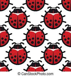 Seamless background pattern of ladybugs