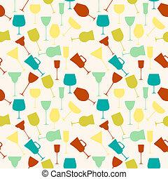 Seamless background pattern of retro alcoholic glass.