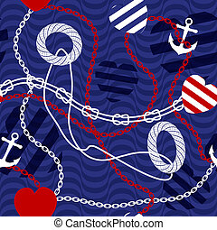 Pattern in nautical style with belts.