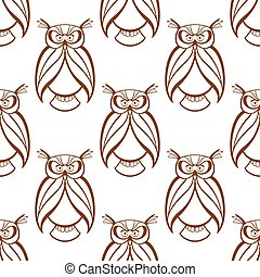 Seamless background pattern with brown owls