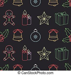 Seamless background pattern with Christmas outline elements