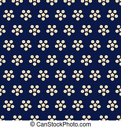 Seamless background retro navy blue Japanese round flower chintz