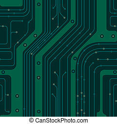 circuit board. PCB - Seamless background simulates the green...