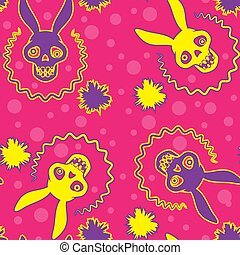 Seamless background skull of a rabbit with ears the vivid colors cartoon. Vector image.