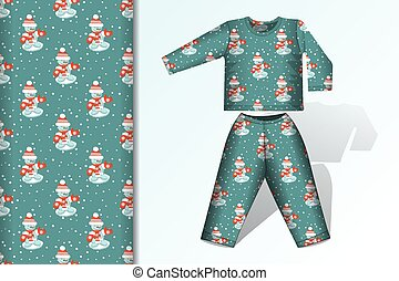 Seamless background Snowman green pajamas with mock up and seamless pattern concept for design of fabric and paper for printing