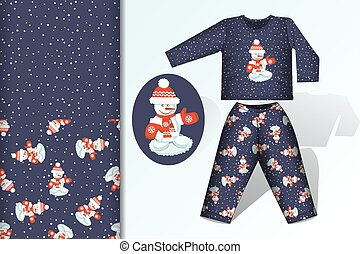 Seamless background Snowman pajamas with mock up and seamless pattern concept for design of fabric and paper for printing
