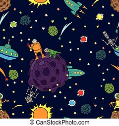 Seamless background, space, rockets and UFOs stars. Meeting with other reason.