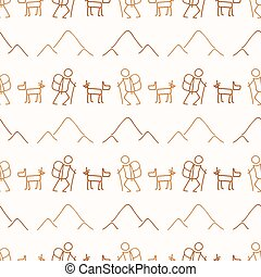 Seamless background stick figure and dog hiking neutral pattern. Whimsical minimal earthy 2 tone color. kids nursery wallpaper or boho cartoon camping fashion.
