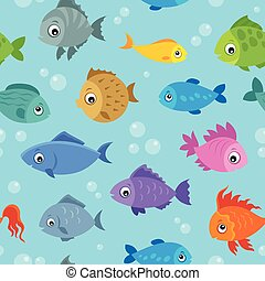 Seamless background stylized fishes 3