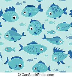 Seamless background stylized fishes 4