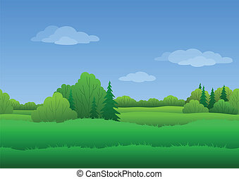 Seamless background, summer landscape - Seamless background,...