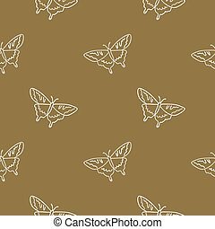 Seamless background swallow tail butterfly gender neutral pattern. Whimsical minimal earthy 2 tone color. kids nursery wallpaper or boho cartoon insect fashion.