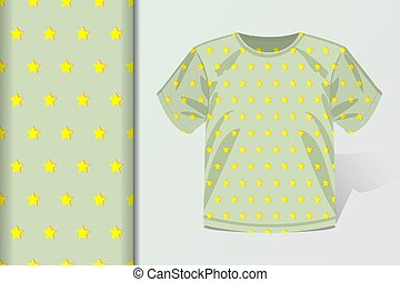 Seamless background T-shirt and mock up with starlets Concept for design of fabric and paper for printing