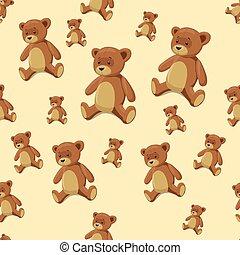 Seamless background teddy bear toy vector