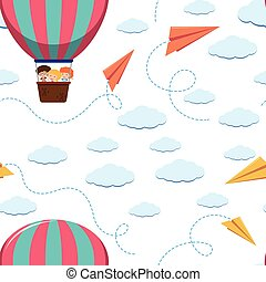 Seamless background template with kids on balloon