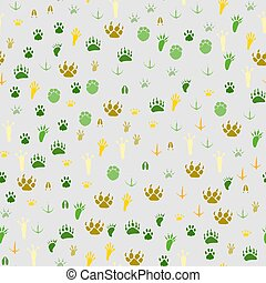 Seamless background traces of animals and birds