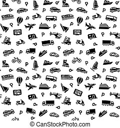 Seamless background, transport icons, wallpaper, wrapping ...