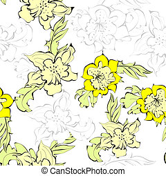 Seamless background with yellow narcissus flowers