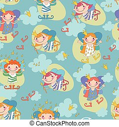 Seamless background vector illustration girls fairy on a blue ba