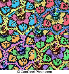Seamless background with abstract colorful floral pattern.