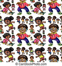 Seamless background with African American kids