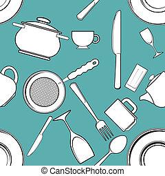 seamless background with antique kitchen utensils