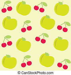 background with apple and cherry