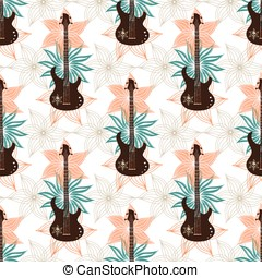 Seamless background with bass guitar and flowers.. Music wallpaper.