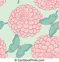 Seamless background with beautiful butterflies and flowers dahlias in a hand-drawn graphic style in vintage colors