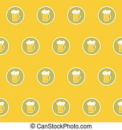 seamless background with beer mugs