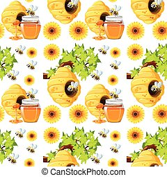 Seamless background with bees and beehives