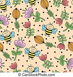 seamless background with bees and f
