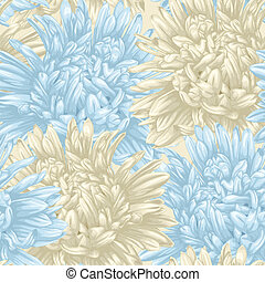 seamless background with beige and blue aster. Hand-drawn with effect of drawing in watercolor