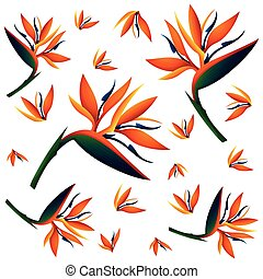 Seamless background with bird of paradise flowers