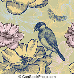 Seamless background with birds, roses and butterfly. Vector illustration.