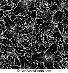 seamless background with black and white lily and roses.