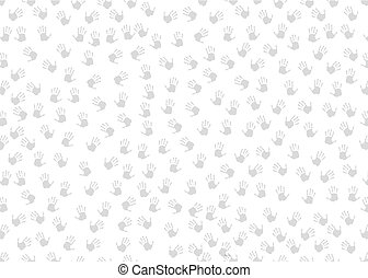 Seamless background with black hand prints on white