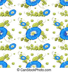 Seamless background with blue morning glory flowers...