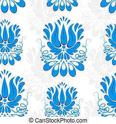 Seamless background with blue ornament. Gzhel style. Wallpaper.