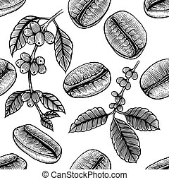 branch of coffee - Seamless background with branch of coffee...