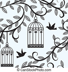 birds flying and cage - Seamless background with branch of ...