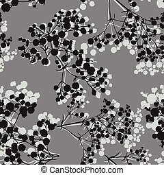 Seamless background with branches of beautiful hand-drawn ...